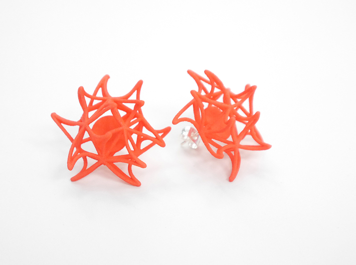 Aster Earrings (Studs) 3d printed Custom Dyed Color (Coral)