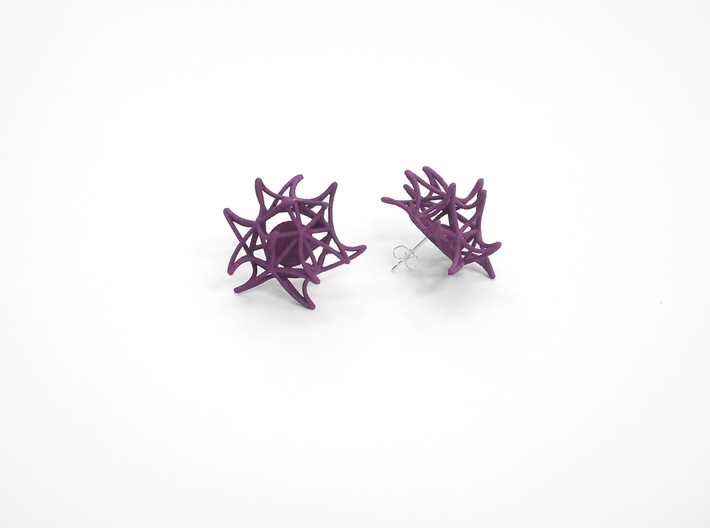 Aster Earrings (Studs) 3d printed Custom Dyed Color (Eggplant)