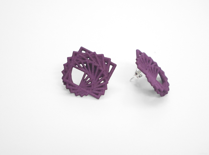 Arithmetic Earrings (Studs) 3d printed Custom Dyed Color (Eggplant)