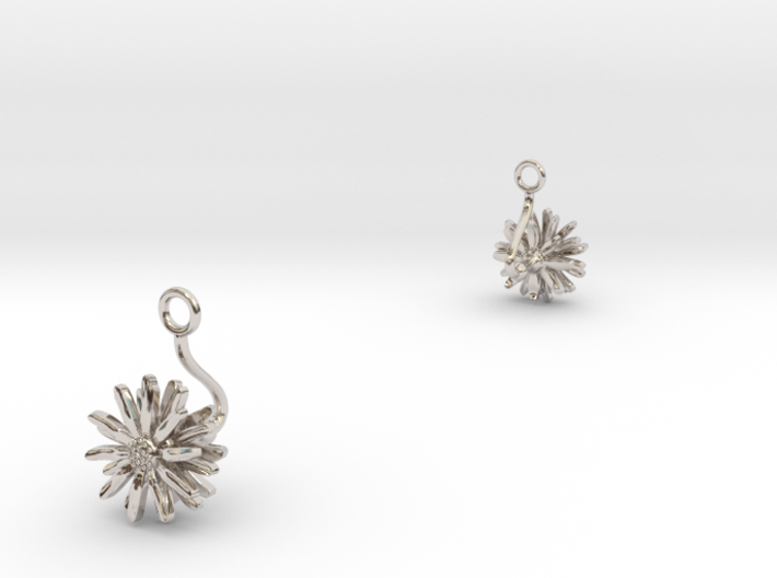 Daisy earring with one small flower II 3d printed