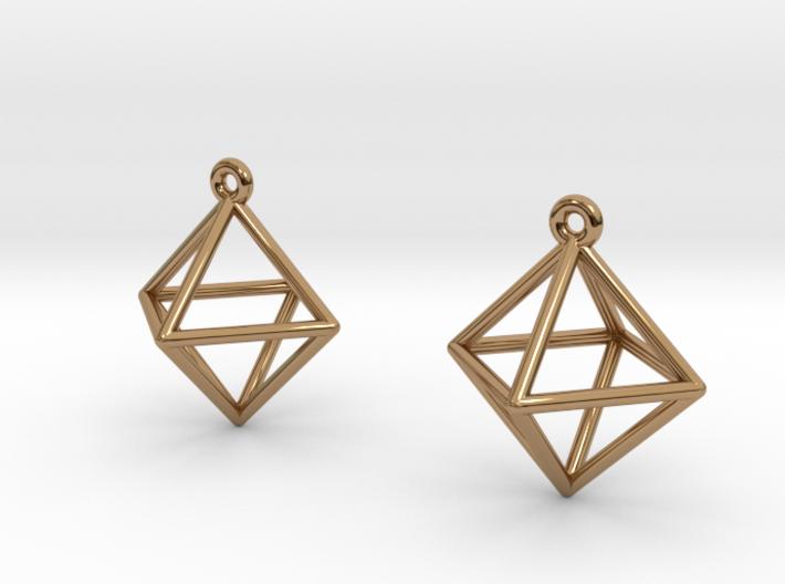 Octahedron Earrings 3d printed