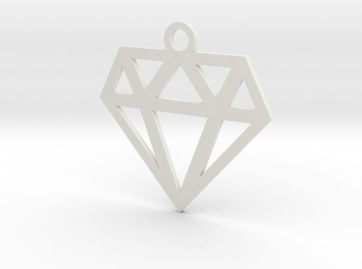 Diamond Lines Necklace Pendant 3d printed