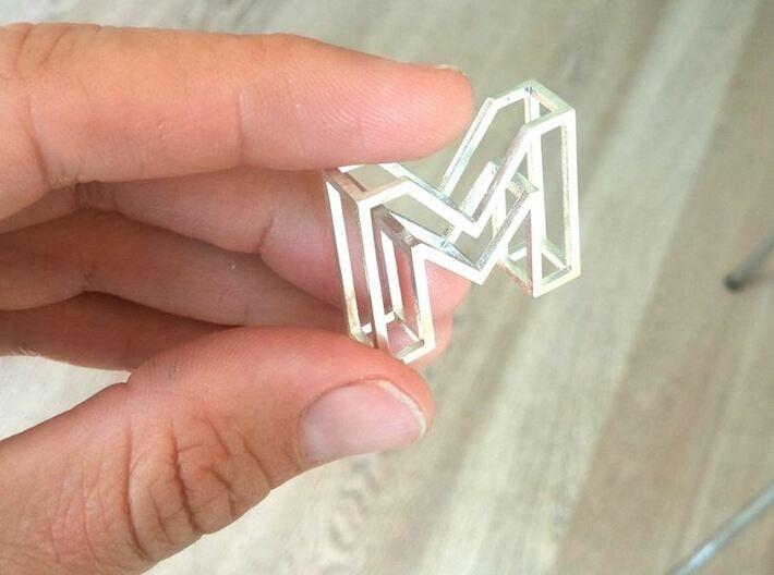 3D Font initial pendant 3d printed