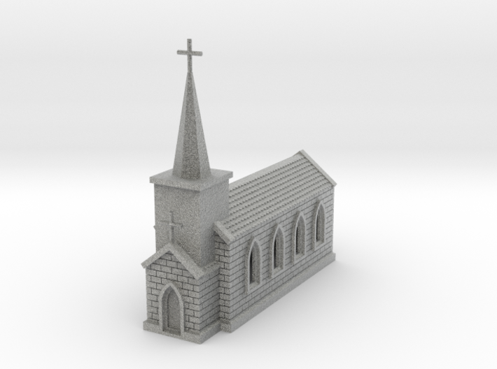N Scale Small Church with Steeple 1:160 3d printed