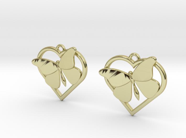 Heart Butterfly Earrings 3d printed