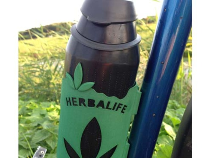 Bottle holder with HerbaLife name and logo 3d printed
