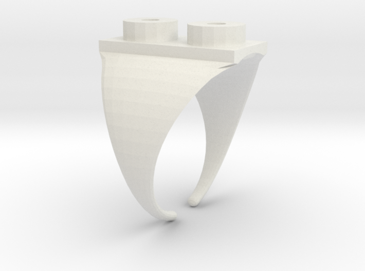 Two Stud Ring / Anillo Placa 2 3d printed Stainless Steel (general view)