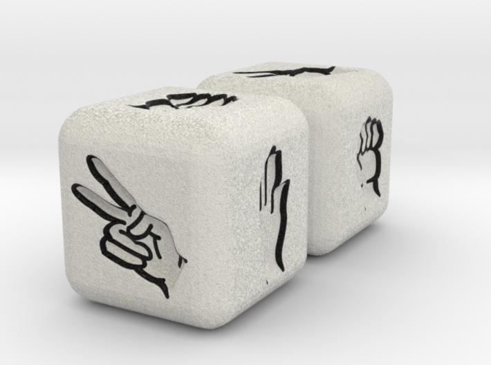 Rock Paper Scissors Dice 3d printed