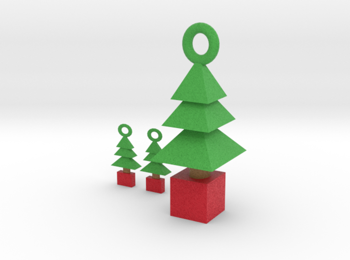 3d Xmas Tree Pendant And Earrings 3d printed
