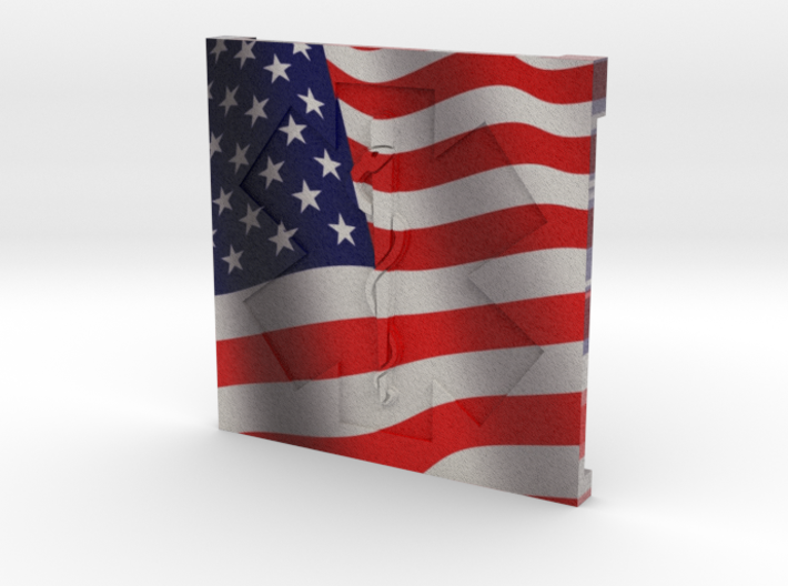 EMS Plaque with American Flag 3d printed