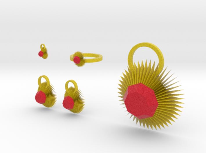 Fire Star Jewelry Set 3d printed