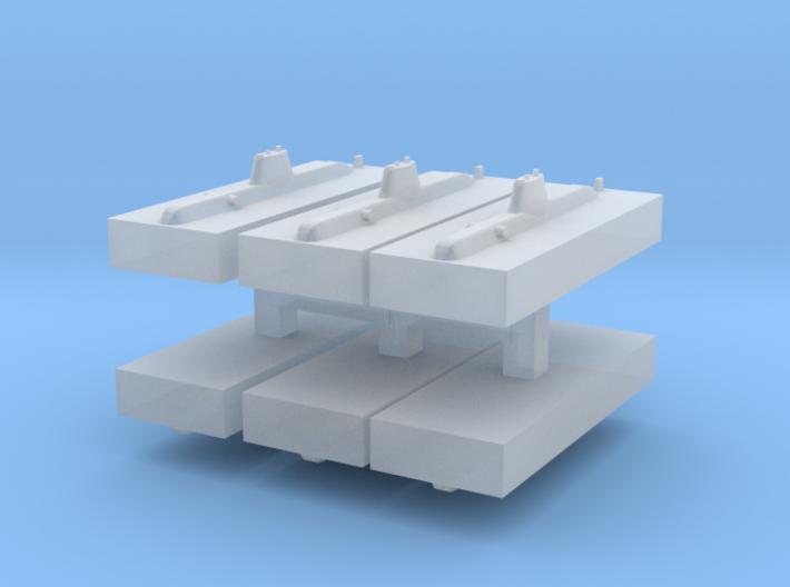 HDW 209PN Submarine 1:6000 x6 3d printed