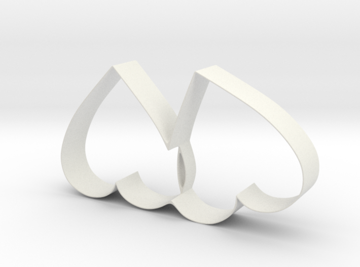 Cookie Cutter - Two Hearts Valentine Design 3d printed