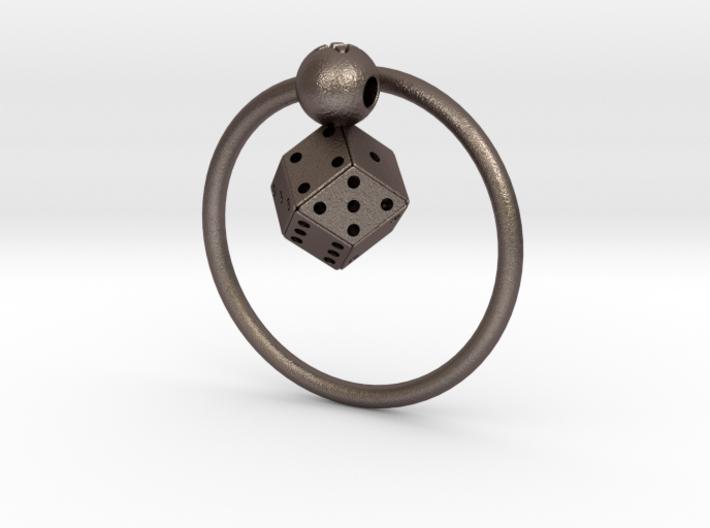 Keyring with Rhombic Die 3d printed