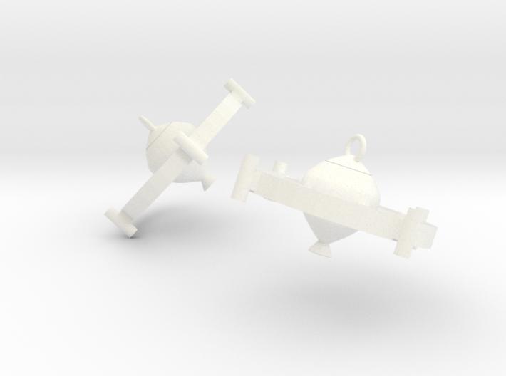 Jla Satellite Earrings 3d printed