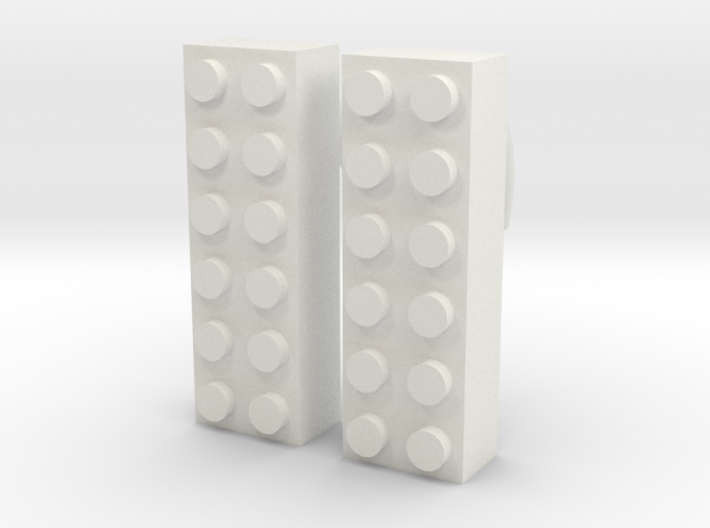 2x6 Brick Earring 2g 3d printed