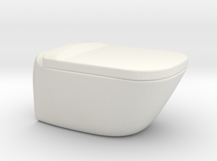 Toilet, wall hung with lid - 1:12 3d printed