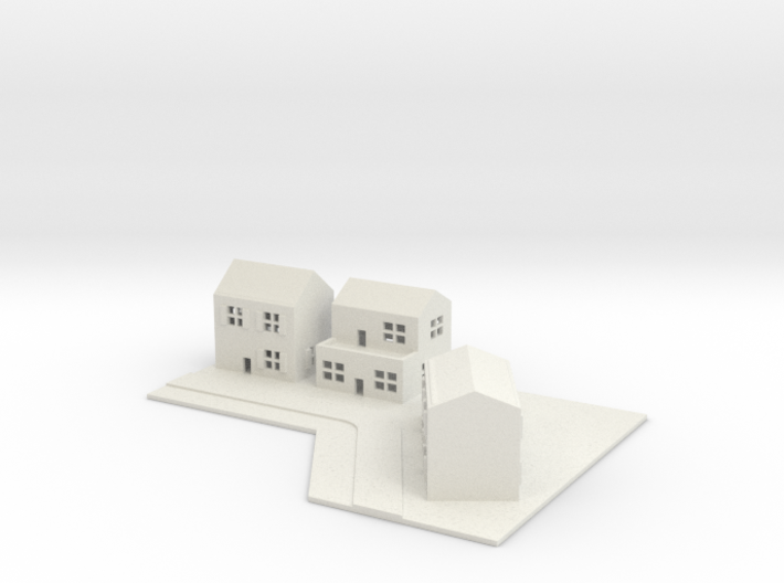 1/700 Town House Scene 3d printed