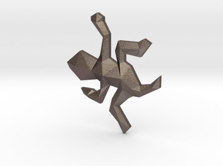Escher Low Poly Lizard Pendant 3d printed