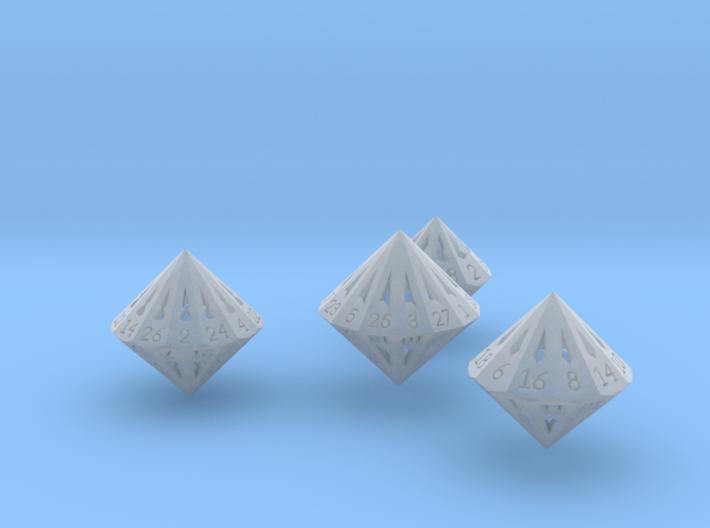 Small Dipyramidal Dice Set 3d printed