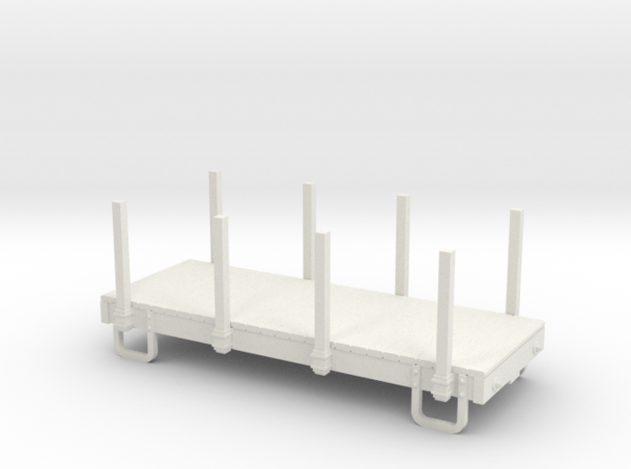 55n9 13ft 4 wheeled flat car car - with stakes 3d printed