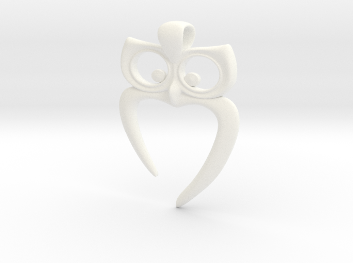 Owl Heart Pendant 3d printed Stainless Steel Render