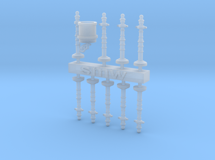Set of garden posts and trash H0/00 gauge  3d printed