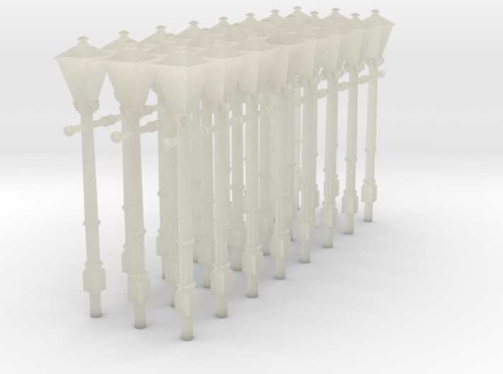 24 '00' scale square topped gas lamps 3d printed