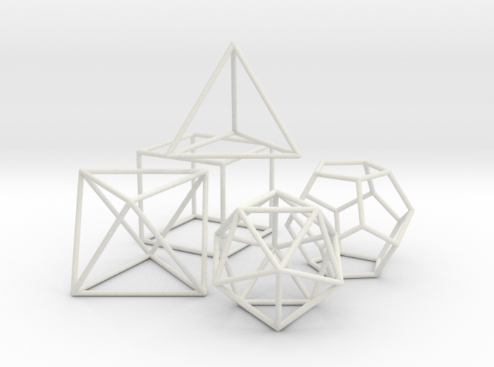 Platonics Solids colored - Primary Forms 3d printed