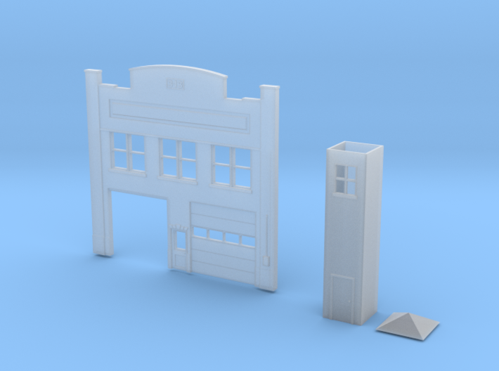 N-Scale Urban Fire Station Facade 3d printed