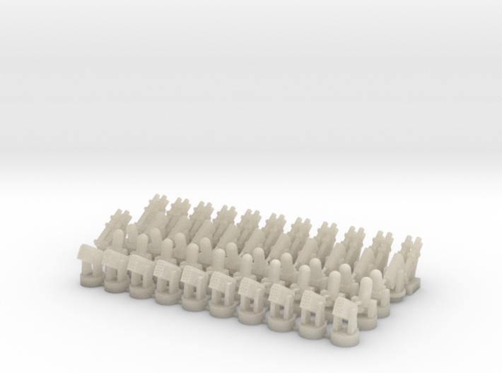 20 CIWS + 10 RAM-1 + 10 RAM-2 + 12 Harpoon 3d printed