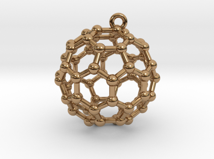 BuckyBall C60 Earring, Silver, 1.7cm 3d printed