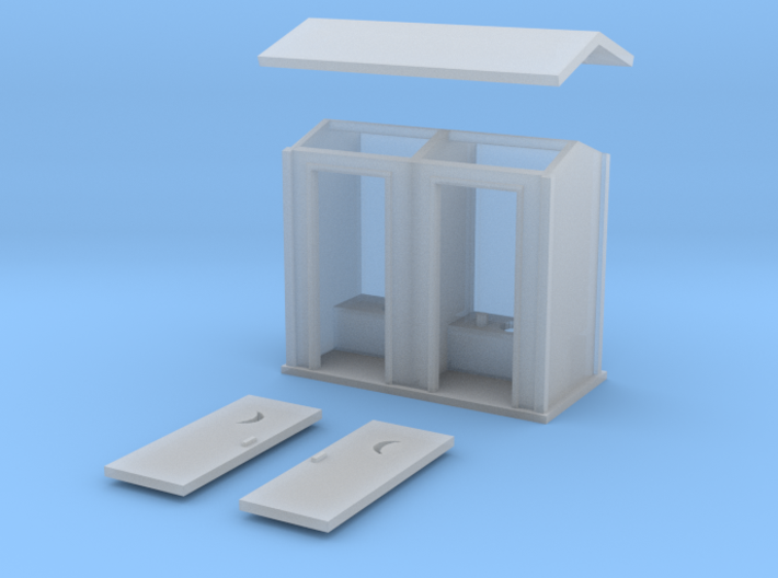 N-Scale 2-Hole Outhouse 3d printed