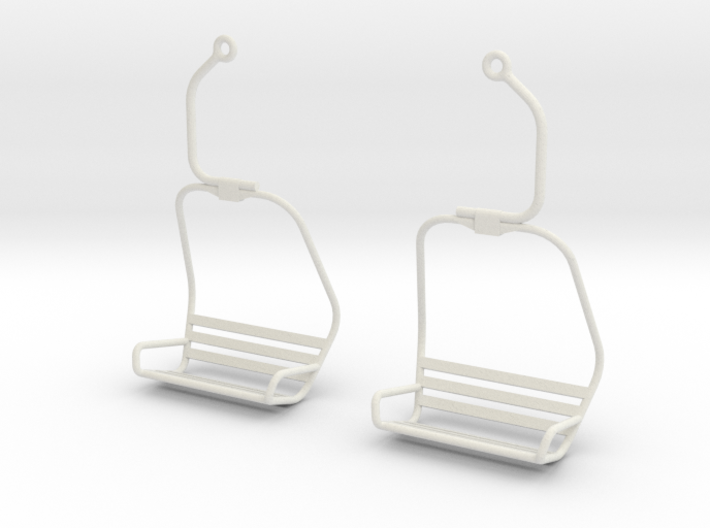 Ski Lift Chair Ear Rings 3d printed