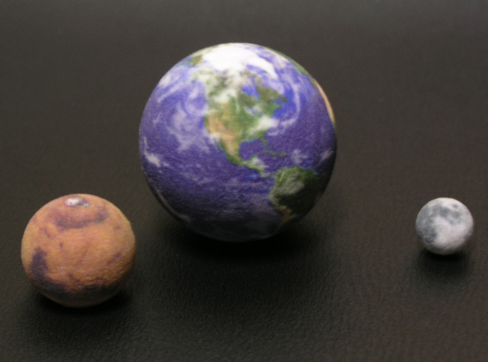 "Earth Moon Mars to scale. 50mm / 2"" globe 3d printed Photograph of the models"