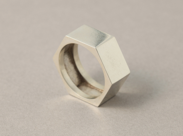 screw ring size 9,1/4 3d printed silver glossy