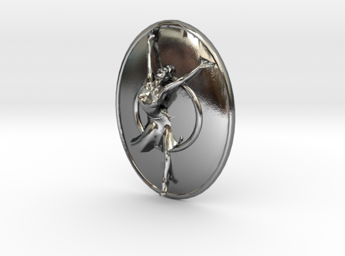 Joyful Dancer Small Pendant with circle background 3d printed