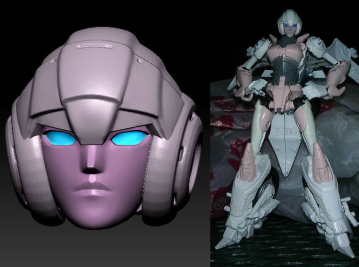 ARCEE homage Oracle Ver 2 for TF PRID 3d printed Fully Painted Oracle Head on TF Prime Deluxe Arcee