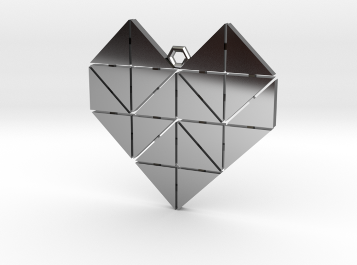 Geometric Heart Pendant 3d printed