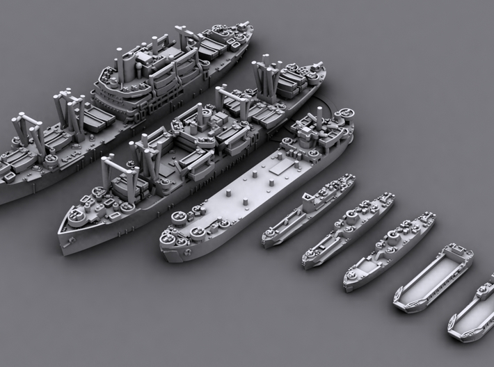 48US06 US Navy Amphibious Ships & Crafts 3d printed