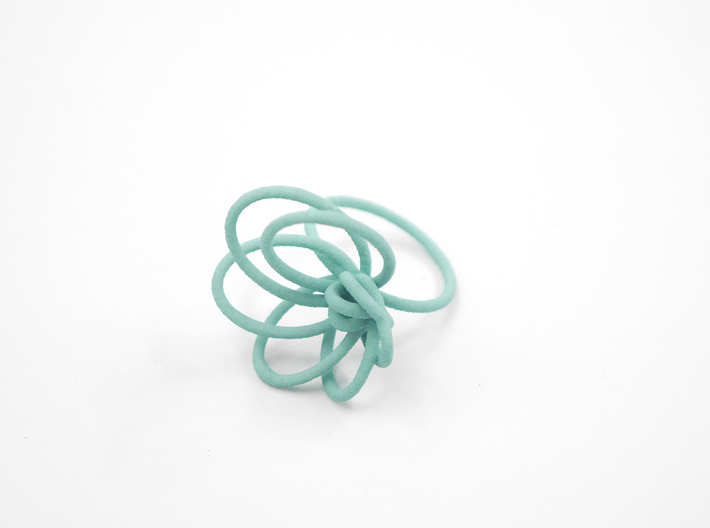 Flora Ring A (Size 8) 3d printed Custom Dyed Color (Teal)