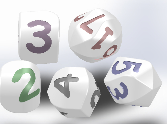 Set of dice with convex faces (digits) 3d printed