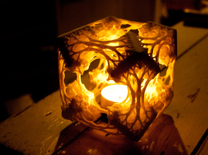 Cubic Woods - Fractal Sculpture & Light Cave 3d printed With candle (be careful - needs a candle holder!)