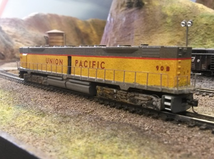 EMD DD35 Dummy N Scale 1:160 3d printed Shown with JTP Brass Additions