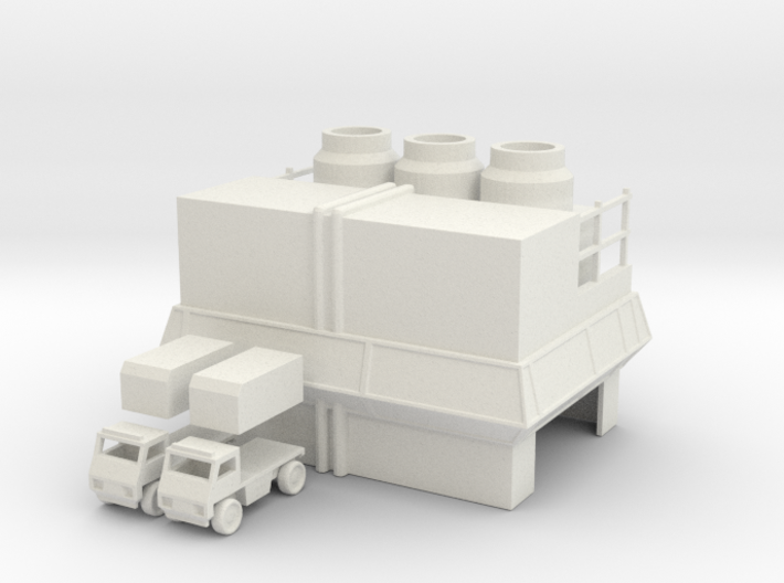 Factory and Trucks 3d printed