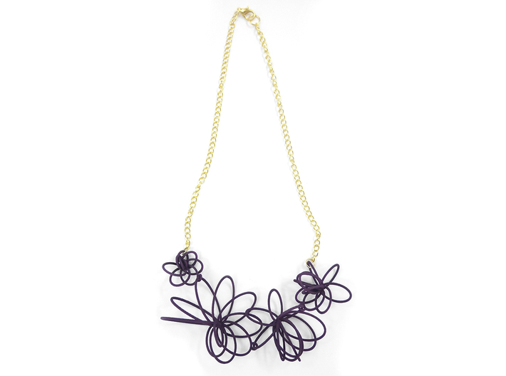 Flora Necklace 3d printed Midnight (Custom Dyed Color)