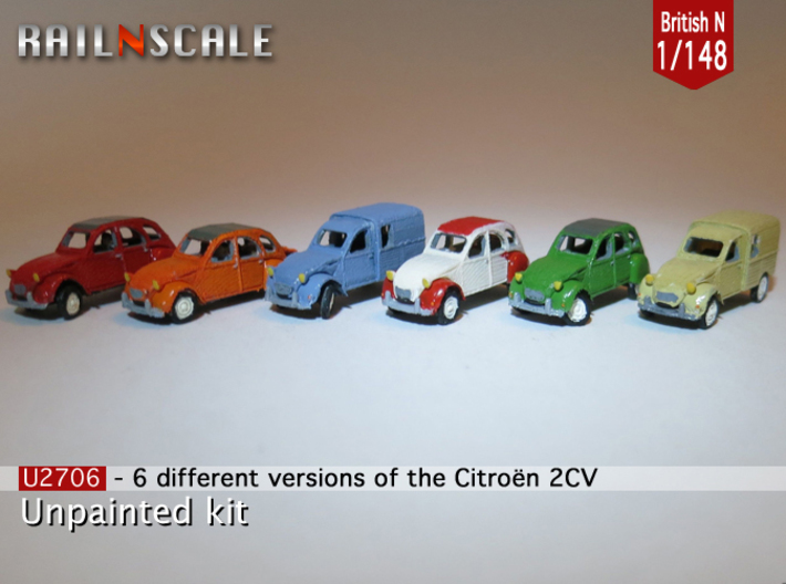 SET 6x Citroën 2CV (British N 1:148) 3d printed