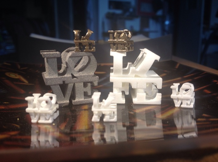 "love/life - small (1"") 3d printed Small and Tiny, Alumide, Plastic, and Stainless"