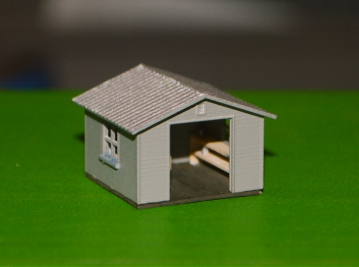N-Scale Backyard Shed (Revised) 3d printed Painted Production Sample - Doors Not Attached