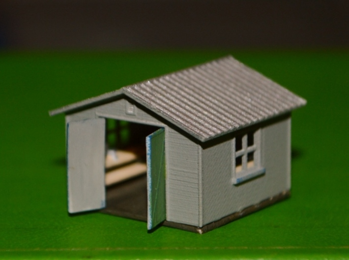 N-Scale Backyard Shed (Revised) 3d printed Painted Production Sampe - Doors Attached